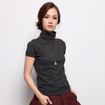 商城正品2013年秋冬女装新款高领针织短袖t恤打底衫半袖套头毛衣 价格:89.00