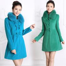 美欣雅1250专柜正品代购 韩版修身狐狸毛领 中长款毛呢料羊绒大衣 价格:520.00