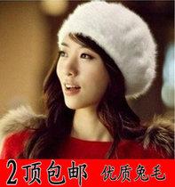 韩版新款兔毛帽子 女 秋冬街头潮帽 保暖帽子纯兔毛贝雷帽画家帽 价格:8.00