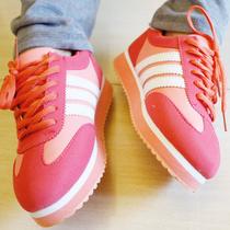 包邮韩版三道杠拼色跑鞋pu阿甘鞋板鞋街舞鞋运动鞋糖果色跑鞋球鞋 价格:65.00
