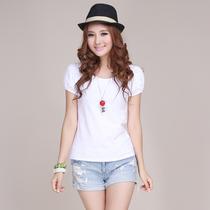 包邮大码女装短袖T恤公主泡泡袖夏装白色体恤紧身打底衫韩版小衫 价格:29.00