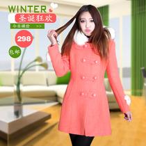 韩版女 冬季新款毛领带帽呢子外套 糖果色双排扣加厚毛呢大衣女装 价格:299.00