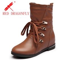 红蜻蜓女靴正品真皮雪地靴系带保暖加绒平底靴新款冬季内增高女鞋 价格:128.00