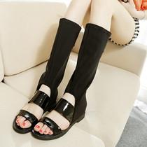 春秋新款欧美露趾凉靴鞋韩版弹力布高筒靴夏季镂空长靴子网纱女靴 价格:128.00