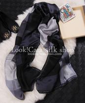 最新 珍珠光泽最新格子拼接 马赛克高档长丝巾围巾披肩 价格:98.00