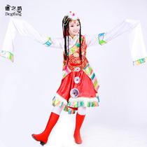 正品 红色短款藏族水袖舞蹈演出服装 少数民族舞台演出服装 价格:280.00