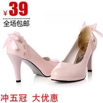 包邮新款韩版女鞋子防水台糖果冻鞋厚底高跟鞋蝴蝶结休闲时尚单鞋 价格:39.00