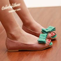 2013夏季新款女鞋韩版蝴蝶结ol鱼嘴鞋子平跟娃娃平底糖果冻鞋 价格:39.00