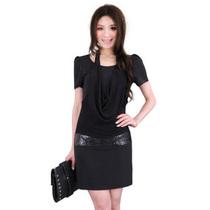 2012女装 中腰蝙蝠袖圆领单件简约通勤挂脖短裙短袖连衣裙特价 价格:75.00