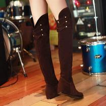 女鞋秋季新款靴子高筒靴欧美女坡跟内增高冬春秋骑士中长靴潮平跟 价格:118.00