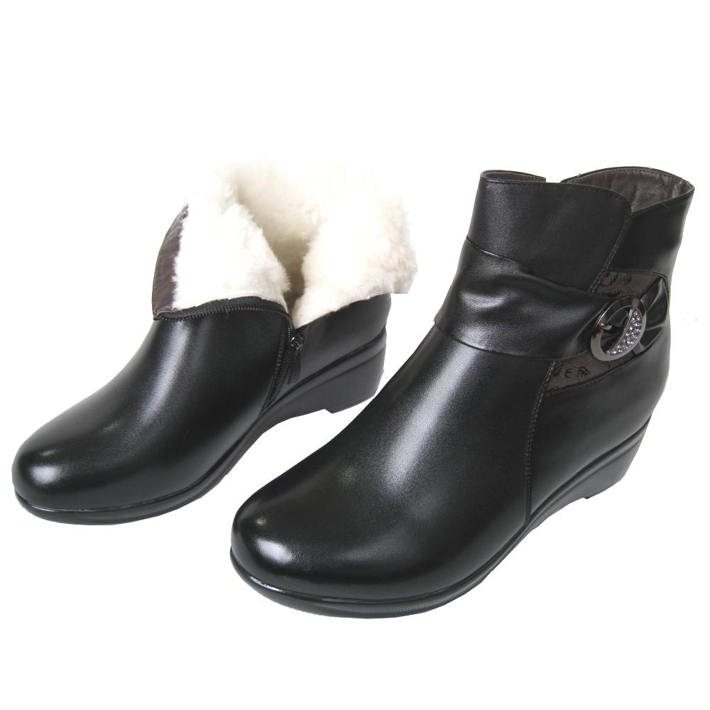 冬真皮妈妈棉鞋 女士棉靴羊毛女靴子坡跟短靴厚底中老年老人棉鞋 价格:135.00