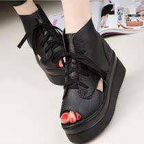 2014春夏欧美鱼嘴鞋罗马坡跟新款系带镂空平跟松糕鞋厚底凉鞋女鞋 价格:35.90