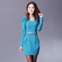 秋冬季淑女款式韩版修身OL通勤职业收腰包臀泡泡长袖打底连衣裙子 价格:37.00