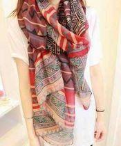 韩国春夏季民族风复古围巾披肩两用长款纱巾条纹棉麻大围巾女 价格:24.00