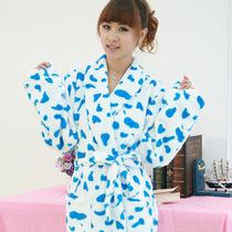 新款 秋冬 珊瑚绒袍子睡袍浴袍女款可爱粉蓝色奶牛纹 加厚 特价 价格:59.00