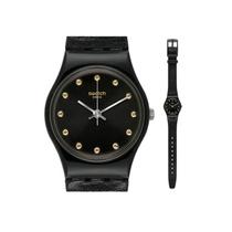 专柜正品Swatch斯沃琪手表淑女黑色皮带 深黑时光LB172 价格:349.00