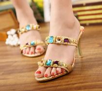 珂比娜奢华水钻夏季新款韩版性感细跟高跟鞋女鞋夜店凉拖女士拖鞋 价格:158.00