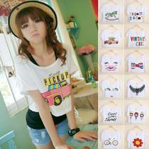 夏装新款2013时尚女装T恤 女短袖韩版宽松大码短款印花卡通罩衫潮 价格:9.80