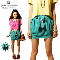 夏装新品日式湖蓝色花边腰带蝴蝶结短裙裹裙半身裙CC皇后家A0352 价格:35.00
