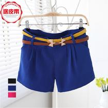 2014夏装新款韩版时尚糖果色修身显瘦休闲短裤休闲裤女 价格:39.00