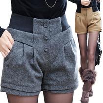 胖mm大码女装~2141秋冬新品 韩版时尚百搭修身高腰羊毛呢靴裤短裤 价格:88.20
