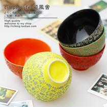 五彩漩涡原创意日本雕刻创意陶瓷碗米饭碗套装景德镇日式餐具特价 价格:3.50