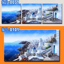 地中海油画 爱琴海风景 手绘无框画三联 欧式风格客厅装饰画 正品 价格:159.00