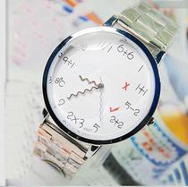 包邮 KEDE韩版时尚个性情侣手表 不锈钢表带数字加减法学生对表 价格:29.00