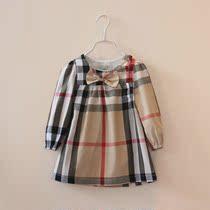 2014外贸女童装新款春装儿童宝宝韩版纯棉格子中袖连衣裙衫娃娃衫 价格:54.99