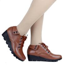 秋季新款深口单鞋真皮牛皮中跟女鞋坡跟厚底休闲系带女式皮鞋 价格:106.00