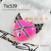 Tsc539-镶黑色钻翅膀带锁爱心项坠手链坠吊坠-粉色款 价格:30.00