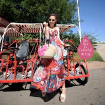 波西米亚夏季新款韩版海边吊带裙显瘦长裙子沙滩裙连衣裙夏装女装 价格:78.00