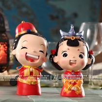 结婚礼物 新房摆件树脂娃娃婚庆礼品 格格和阿哥 君心似我心 大号 价格:128.00