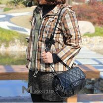 MIKE家 春分至 咖啡格子单层薄款短外套/梭织抽绳超短带帽风衣款 价格:97.00