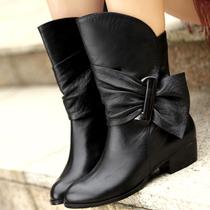2013秋冬季新款真皮女靴 全牛皮蝴蝶结粗跟欧美短靴中跟冬靴单靴 价格:298.00
