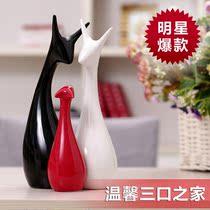 现代时尚家饰  婚房摆件 陶瓷工艺 结婚礼物 三口之家鹿 包邮 价格:23.00
