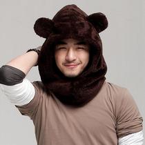 圣蜥 可爱毛绒小熊帽子 女礼物秋冬韩版冬季男士围脖帽子一体两用 价格:39.00