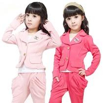 童装 女童春装2013新款 运动休闲西装时尚套装长袖长裤卫衣运动装 价格:39.99