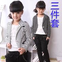 童装女童秋装秋款小西装三件套装条纹中大童韩版新款时尚2013新款 价格:78.00
