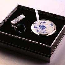 包邮梵圣限量版青花瓷化梳妆镜子16GU盘礼品盒套装高档体面时尚物 价格:499.00