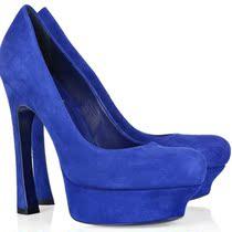 高跟鞋欧美单鞋 款蓝色羊反绒 马蹄跟高贵经典防水台真皮高跟鞋 价格:339.50