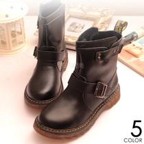 机车短靴真皮马丁靴子平底中跟女靴欧美英伦复古时尚单靴子牛筋底 价格:226.00