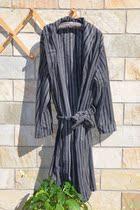 包邮欧美外贸秋冬季男士睡袍加厚摇粒绒浴袍睡衣家居服条纹 大码 价格:29.90