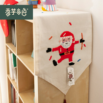 香芋谷色圣诞餐桌桌旗 欧式棉麻布艺茶几布 鲁绣刺绣美式乡村桌旗 价格:56.00