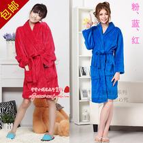 包邮大码女式深红宝蓝粉色纯色素色珊瑚绒睡袍浴袍本命年袍子 价格:49.00