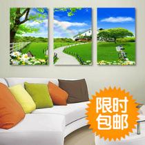 田园风景无框画 客厅装饰画 现代时尚家居沙发背景墙三联挂画特价 价格:4.56