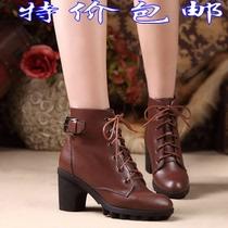 红蜻蜓短靴女正品2013秋冬季新款雪地靴子系带真牛皮高粗跟女式鞋 价格:168.00