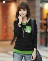 2013夏装新款假两件套t恤少女中学生体恤长袖t恤女装打底衫韩版潮 价格:37.00
