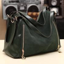 包包2013新款潮女韩版拼接撞色手提包复古磨砂皮包欧美墨绿邮差包 价格:69.00