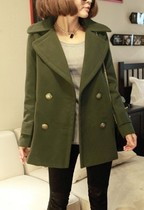 UMI悠米 冬季新款韩版修身显瘦宽松四扣大翻领厚实女毛呢大衣外套 价格:139.00